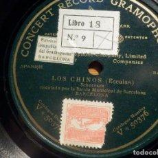 Discos de pizarra: PIZARRA UNA CARA CONCERT RECORD GRAMOPHONE V 50376 - LOS CHINOS, ESCALAS, BANDA MUNICIPAL BARCELONA. Lote 212209295