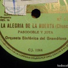 Discos de pizarra: LA VOZ DE SU AMO CJ 1244, AF 172 - LA ALEGRÍA DE LA HUERTA, BOHEMIOS, FANTASÍA - ORQUESTA. Lote 212227662