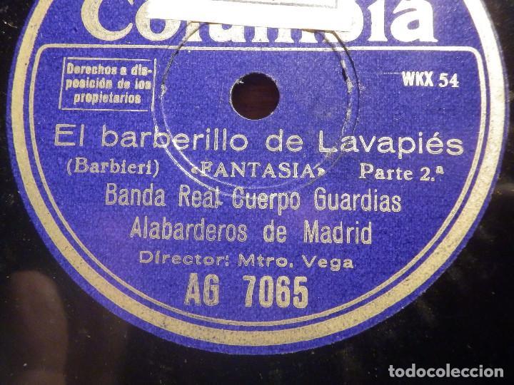 COLUMBIA AG 7065 - EL BARBERILLO DE LAVAPIES, FANTASIA 1ª Y 2ª PARTE - BANDA ALABARDEROS MADRID (Música - Discos - Pizarra - Clásica, Ópera, Zarzuela y Marchas)