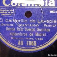 Discos de pizarra: COLUMBIA AG 7065 - EL BARBERILLO DE LAVAPIES, FANTASIA 1ª Y 2ª PARTE - BANDA ALABARDEROS MADRID. Lote 212227976