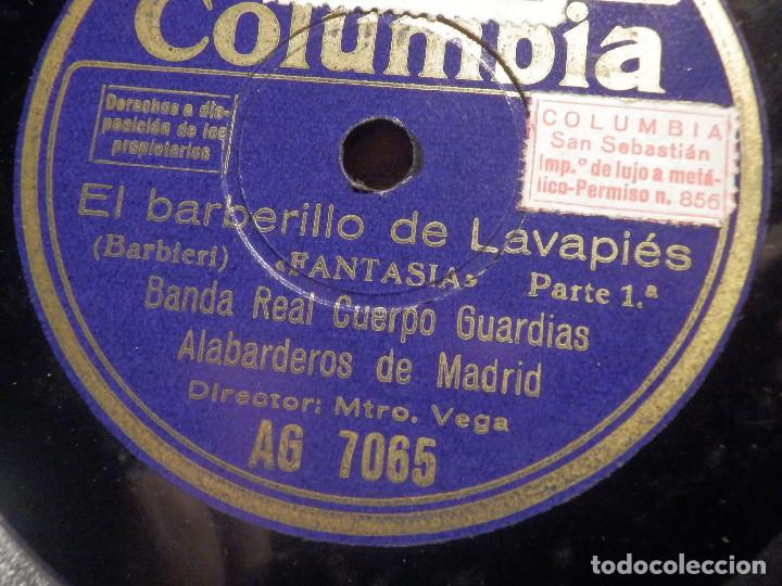 Discos de pizarra: COLUMBIA AG 7065 - EL BARBERILLO DE LAVAPIES, FANTASIA 1ª Y 2ª PARTE - BANDA ALABARDEROS MADRID - Foto 2 - 212227976