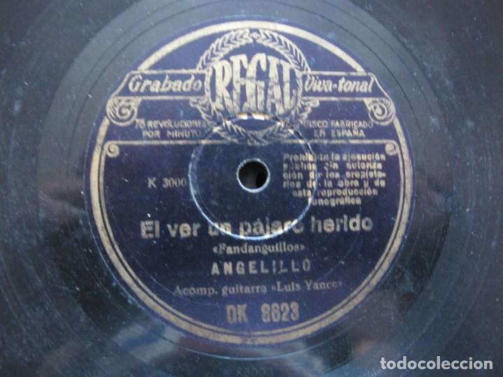 ANGELILLO / EL VER UN PAJARO HERIDO / DAME ESA FLOR QUE TU LLEVAS (REGAL DK 8623) (Música - Discos - Pizarra - Flamenco, Canción española y Cuplé)