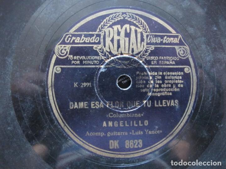 Discos de pizarra: ANGELILLO / EL VER UN PAJARO HERIDO / DAME ESA FLOR QUE TU LLEVAS (REGAL DK 8623) - Foto 3 - 212236065
