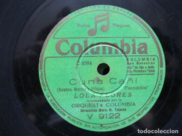 Discos de pizarra: LOLA FLORES / LERELE / CUNA CAÑI (COLUMBIA V 9122) - Foto 3 - 212237377