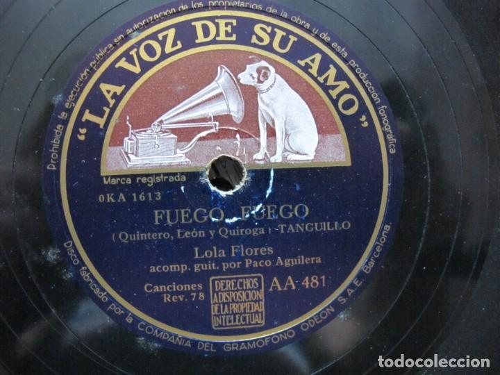 LOLA FLORES / FUEGO FUEGO / LA VENTOLERA (LA VOZ DE SU AMO AA 481) (Música - Discos - Pizarra - Flamenco, Canción española y Cuplé)