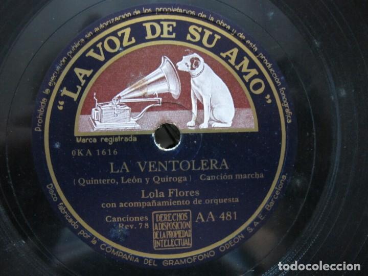 Discos de pizarra: LOLA FLORES / FUEGO FUEGO / LA VENTOLERA (LA VOZ DE SU AMO AA 481) - Foto 3 - 212237986