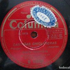 Discos de pizarra: JUANITO VALDERRAMA / CANTIÑAS CLICLANERAS / LA FERIA DE OSUNA (COLUMBIA R 14260). Lote 212238602