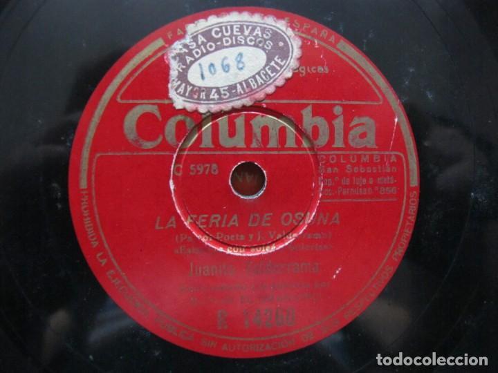 Discos de pizarra: JUANITO VALDERRAMA / CANTIÑAS CLICLANERAS / LA FERIA DE OSUNA (COLUMBIA R 14260) - Foto 3 - 212238602
