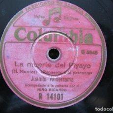 Discos de pizarra: JUANITO VALDERRAMA / LA MUERTE DEL PIYAYO / A LO LARGO DEL CAMINO (COLUMBIA R 14101). Lote 212241158