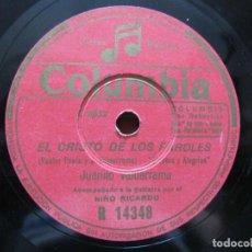 Discos de pizarra: JUANITO VALDERRAMA / EL CRISTO DE LOS FAROLES / AIRES DE LA RIBERA DE GRAÑENA (COLUMBIA R 14348). Lote 212241423