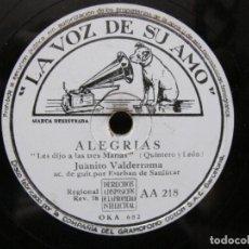 Discos de pizarra: JUANITO VALDERRAMA / LES DIJO A LAS TRES MARIAS / NI LAS PALMAS NI EL DINERO (LA VOZ DE SU AMO AA 21. Lote 212241666