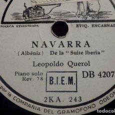 Discos para gramofone: PIZARRA LA VOZ DE SU AMO DB 4207 - NAVARRA - TRIANA - DE LA SUITE IBERIA - LEOPOLDO QUEROL. Lote 212636175