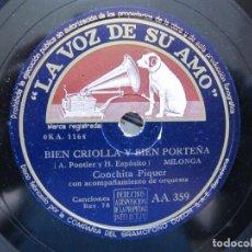 Discos de pizarra: CONCHITA PIQUER / BIEN CRIOLLA Y BIEN PORTEÑA / LA AUSENCIA (LA VOZ DE SU AMO AA 359). Lote 213175570