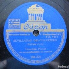 Discos de pizarra: CONCHITA PIQUER / SEVILLANAS DEL ESPARTERO / NO ME DIGAS QUE NO (ODEON 184.521). Lote 213175945