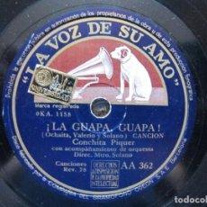 Discos de pizarra: CONCHITA PIQUER / ¡LA GUAPA, GUAPA! / CANTA MORENA (LA VOZ DE SU AMO AA 362). Lote 213176611