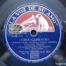 Discos de pizarra: CONCHITA PIQUER / ¡CRIA CUERVOS! / ROPA BLANCA (LA VOZ DE SU AMO AA 361). Lote 213177385