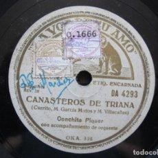 Discos de pizarra: CONCHITA PIQUER / CANASTEROS DE TRIANA / TE QUIERO (CARMELILLA) LA VOZ DE SU AMO DA 4293. Lote 213177747
