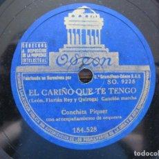 Discos de pizarra: CONCHITA PIQUER / EL CARIÑO QUE TE TENGO / LA ROSA Y EL VIENTO (ODEON 184.528). Lote 213178321