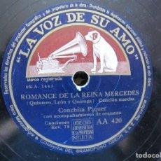 Discos de pizarra: CONCHITA PIQUER / ROMANCE DE LA REINA MERCEDES / YO QUIERO VENDER MIS OJOS (LA VOZ DE SU AMO AA 420. Lote 213179090
