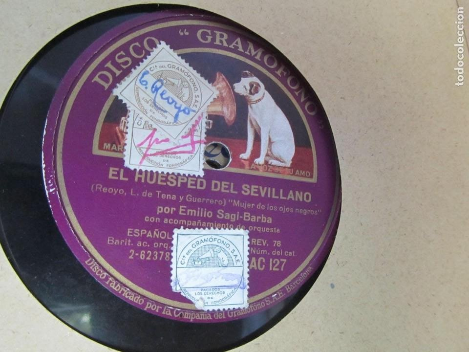 Discos de pizarra: Álbum de discos de pizarra La voz de su amo, 12 discos de 25 cm de diámetro, títulos en fotografías - Foto 19 - 213490297