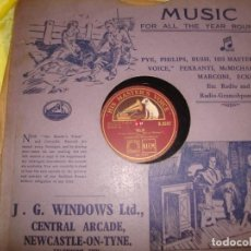 Discos de pizarra: JEANETTE MACDONALD. VILIA / I LOVE YOU SO. HIS MASTER´S VOICE. EDC. UK. PIZARRA. 10 PULGADAS. (#). Lote 213565620