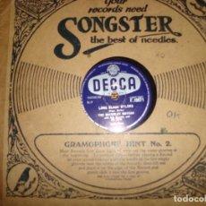 Discos de pizarra: THE BERVERLEY SISTERS. LONG BLACK NYLONS / WITHOUT YOU. DECCA, 1968. 10 PULGADAS. PIZARRA. (#). Lote 213567243