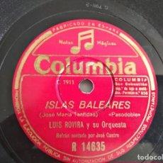 Disques en gomme-laque: LUIS ROVIRA, ISLAS BALEARES - GIJÓN. Lote 214806758