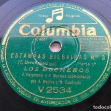 Discos de pizarra: LOS BOCHEROS - ESTAMPAS BILBAÍNAS 78 RPM. Lote 214886445