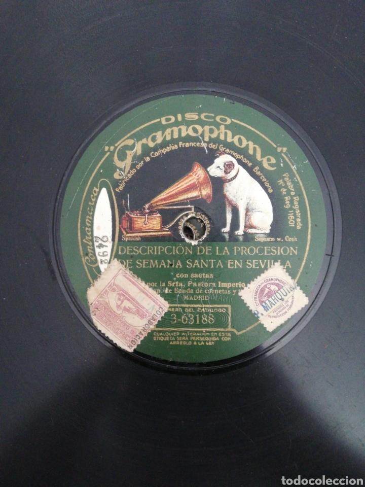 DISCO DE PIZARRA DE 78RPM. PASTORA IMPERIO/DESCRIPCION DE LA PROCESION DE SEMANA SANTA EN SEVILLA/D (Música - Discos - Pizarra - Flamenco, Canción española y Cuplé)