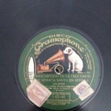 Discos de pizarra: DISCO DE PIZARRA DE 78RPM. PASTORA IMPERIO/DESCRIPCION DE LA PROCESION DE SEMANA SANTA EN SEVILLA/D. Lote 215160807