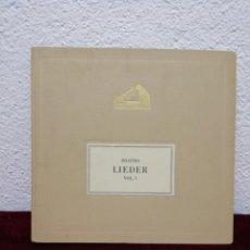 Discos de pizarra: BRAHMS LIEDER. VOL. I. HIS MASTER'S VOICE. INCLUYE 6 DISCOS.. Lote 216460936