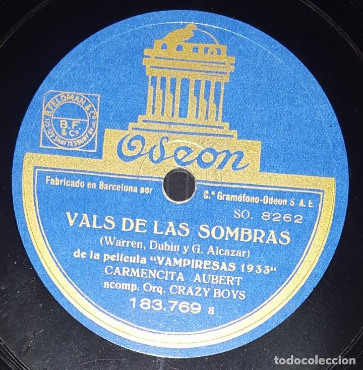 DISCO 78 RPM - ODEON - CARMENCITA AUBERT - CRAZY BOYS - ORQUESTA - LECCION DE BESOS - PIZARRA (Música - Discos - Pizarra - Flamenco, Canción española y Cuplé)