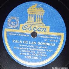 Discos de pizarra: DISCO 78 RPM - ODEON - CARMENCITA AUBERT - CRAZY BOYS - ORQUESTA - LECCION DE BESOS - PIZARRA. Lote 217680226