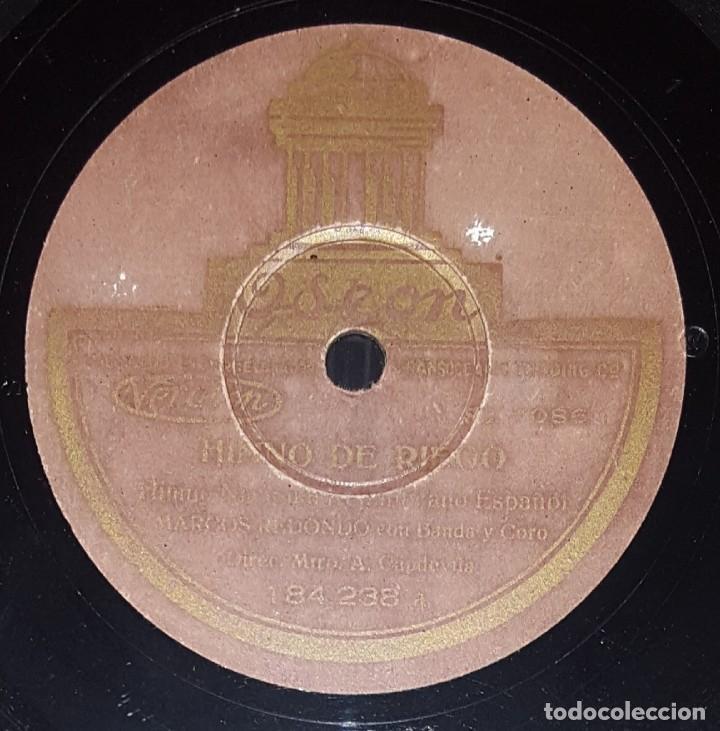 DISCO 78 RPM - ODEON - MARCOS REDONDO - HIMNO DE RIEGO - LA MARSELLESA - CORO - BANDA - PIZARRA (Música - Discos - Pizarra - Clásica, Ópera, Zarzuela y Marchas)