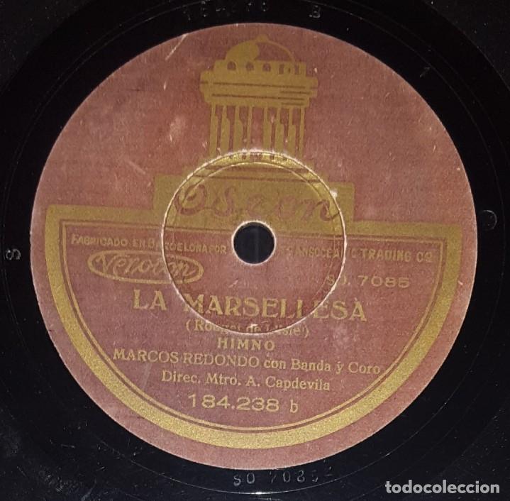 Discos de pizarra: DISCO 78 RPM - ODEON - MARCOS REDONDO - HIMNO DE RIEGO - LA MARSELLESA - CORO - BANDA - PIZARRA - Foto 2 - 217685156