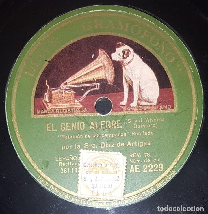 Discos de pizarra: DISCO 78 RPM - GRAMOFONO - JOSEFINA DIAZ ARTIGAS - EL GENIO ALEGRE - RECITADO - ESPAÑOL - PIZARRA - Foto 2 - 217692158