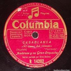 Discos de pizarra: DISCO 78 RPM - COLUMBIA - AMBROSE - ORQUESTA - CASABLANCA - TRES SUEÑOS - FOXTROT - PIZARRA. Lote 217789305