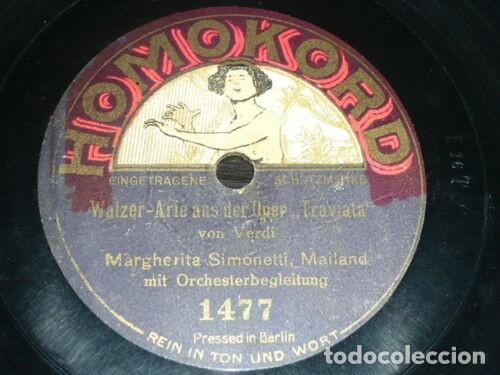 DISCO 78 RPM - HOMOKORD - MARGHERITA SIMONETTI - SOPRANO - TRAVIATA - VERDI - OPERA - PIZARRA (Música - Discos - Pizarra - Clásica, Ópera, Zarzuela y Marchas)