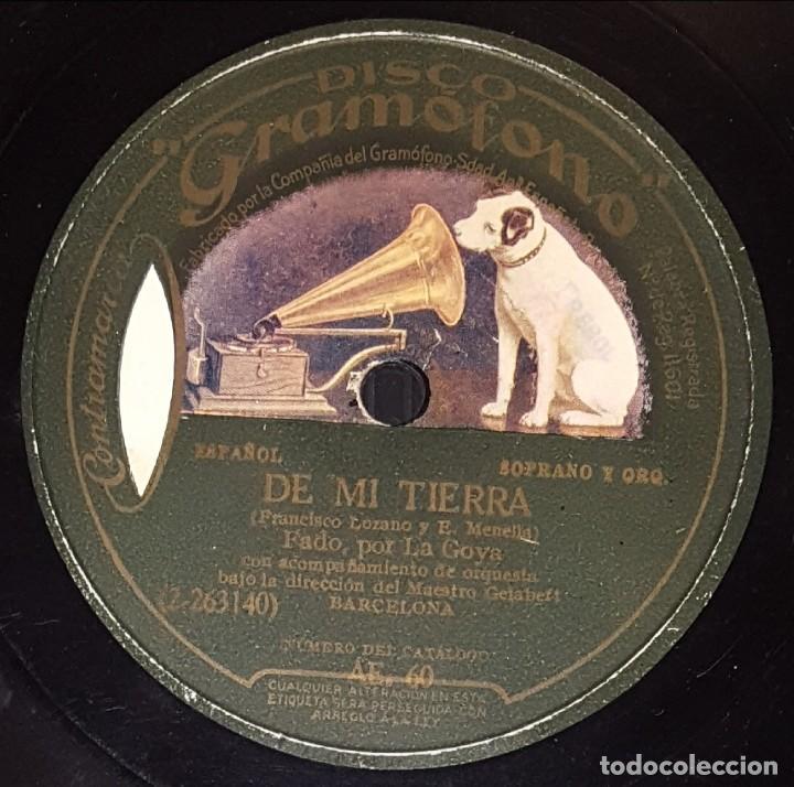 Discos de pizarra: DISCO 78 RPM - GRAMOFONO - LA GOYA - ORQUESTA - LA CHULA TANGUISTA - DE MI TIERRA - CUPLE - PIZARRA - Foto 2 - 217895538