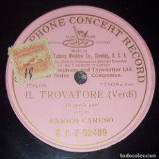 Discos de pizarra: DISCO 78 RPM - G&T PINK - ENRICO CARUSO - IL TROVATORE - VERDI - DI QUELLA PIRA - OPERA - PIZARRA. Lote 217900213