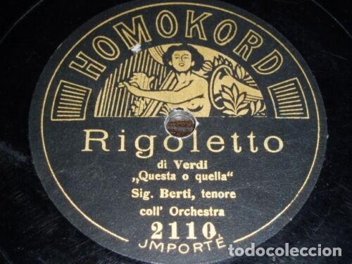 DISCO 78 RPM - HOMOKORD + SOBRE ORIGINAL - BERTI - TENOR - RIGOLETTO - VERDI - OPERA - PIZARRA (Música - Discos - Pizarra - Clásica, Ópera, Zarzuela y Marchas)