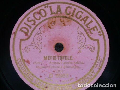 Discos de pizarra: DISCO 78 RPM - LA CIGALE - CELESTINA BONINSEGNA - BALLO IN MASCHERA - MEFISTOFELE - OPERA - PIZARRA - Foto 2 - 217935535