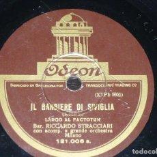 Discos de pizarra: DISCO 78 RPM - ODEON - RICCARDO STRACCIARI - IL BARBIERE DI SIVIGLIA - I PAGLIACCI - OPERA - PIZARRA. Lote 217940966