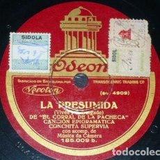 Discos de pizarra: DISCO 78 RPM - ODEON - CONCHITA SUPERVIA - TRIPTICO - TURINA - LA PRESUMIDA - OPERA - RARO - PIZARRA. Lote 218028835