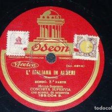 Discos de pizarra: DISCO 78 RPM - ODEON - CONCHITA SUPERVIA - L´ITALIANA IN ALGERI - ROSSINI - OPERA - PIZARRA. Lote 218031806