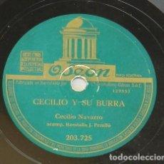 Discos de pizarra: DISCO DE PIZARRA DE CECILIO NAVARRO, JOTAS DE BAILE / CECILIO Y SU BURRA, ED. ODEON, BUEN ESTADO.. Lote 218063963