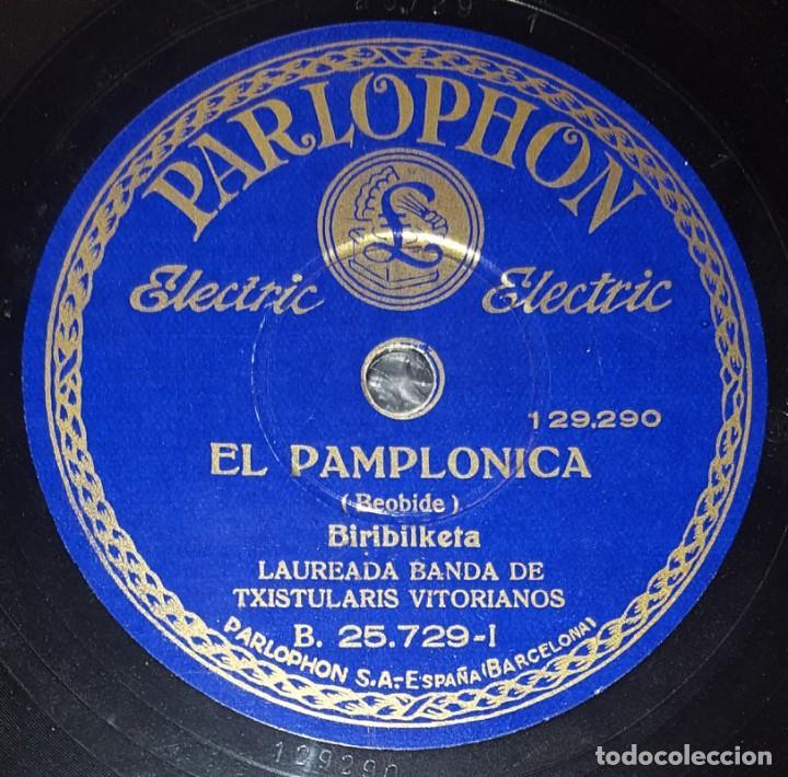 DISCO 78 RPM - PARLOPHON - LAUREADA BANDA TXISTULARIS VITORIANOS - HERMANOS ARRIOLA - PIZARRA (Música - Discos - Pizarra - Otros estilos)