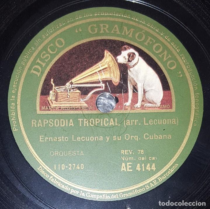 DISCO 78 RPM - GRAMOFONO - ERNESTO LECUONA - ORQ. CUBANA - KARABALI - RAPSODIA TROPICAL - PIZARRA (Música - Discos - Pizarra - Jazz, Blues, R&B, Soul y Gospel)