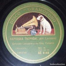 Discos de pizarra: DISCO 78 RPM - GRAMOFONO - ERNESTO LECUONA - ORQ. CUBANA - KARABALI - RAPSODIA TROPICAL - PIZARRA. Lote 218074602