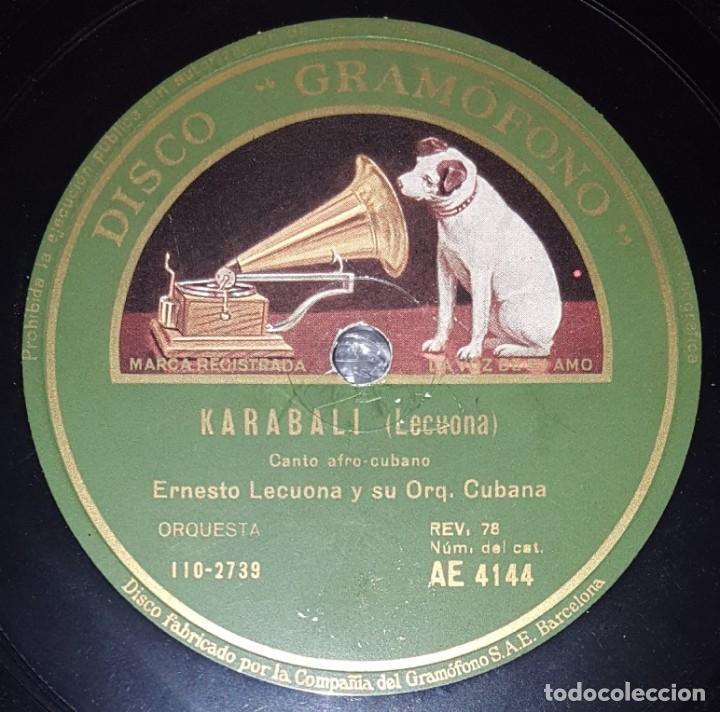 Discos de pizarra: DISCO 78 RPM - GRAMOFONO - ERNESTO LECUONA - ORQ. CUBANA - KARABALI - RAPSODIA TROPICAL - PIZARRA - Foto 2 - 218074602